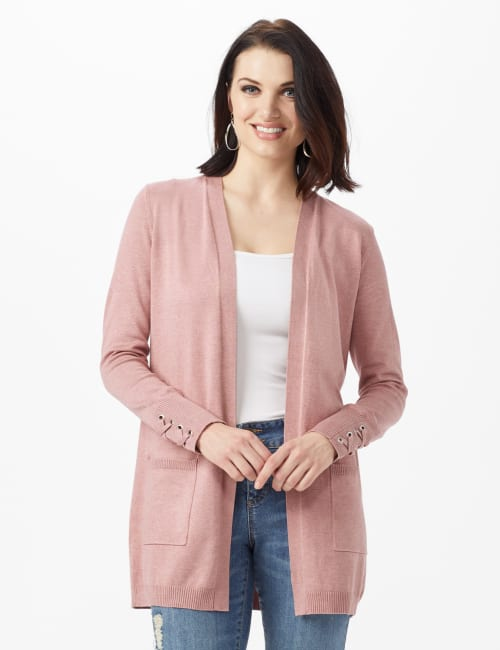 Grommet Lace-Up Trim Open Cardigan - Rose Heather - Front