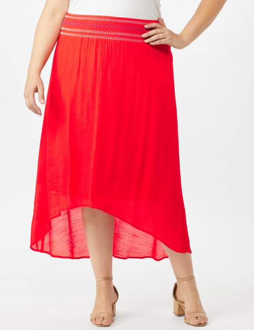 Textured Pull on Hi Lo Hem Skirt - Coralicious - Front