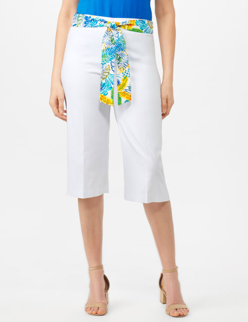 Pull On Crop Pants With Printed Tie Sash - White - Front