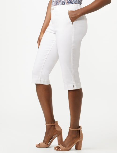 Mid Rise Skinny Petal Pusher With Goddess Fit Solutions - White - Front