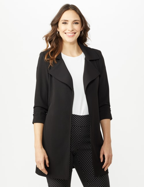 Knotched Collar Wrap Jacket With Tie Belt - Black - Front