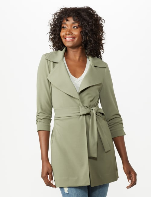 Knotched Collar Wrap Jacket With Tie Belt - Rugged Drab - Front
