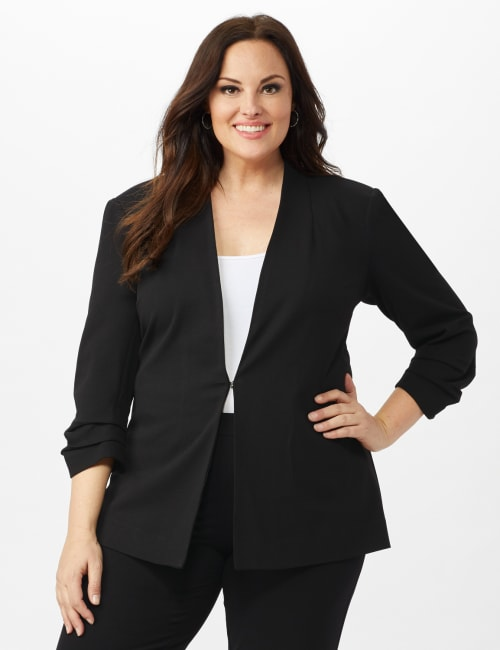 Open Front Collarless Cardigan With Ruched Sleeve - Black - Front