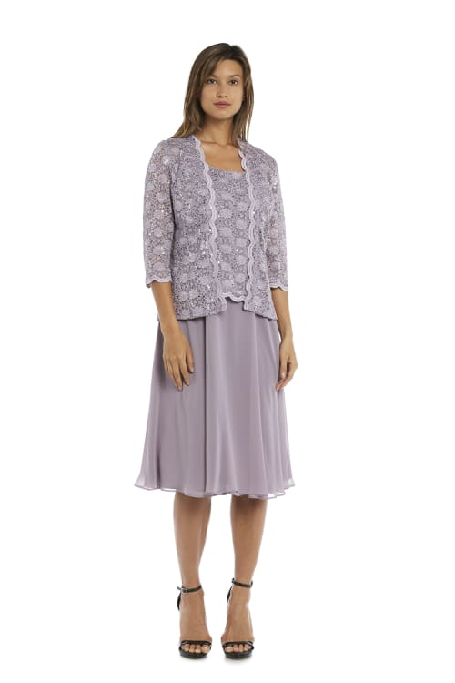 Sequined Lace Chiffon Dress and Jacket - Orchid - Front