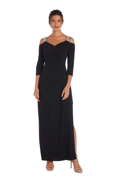 Cold Shoulder Embellished Strap Long Gown - Black - Front