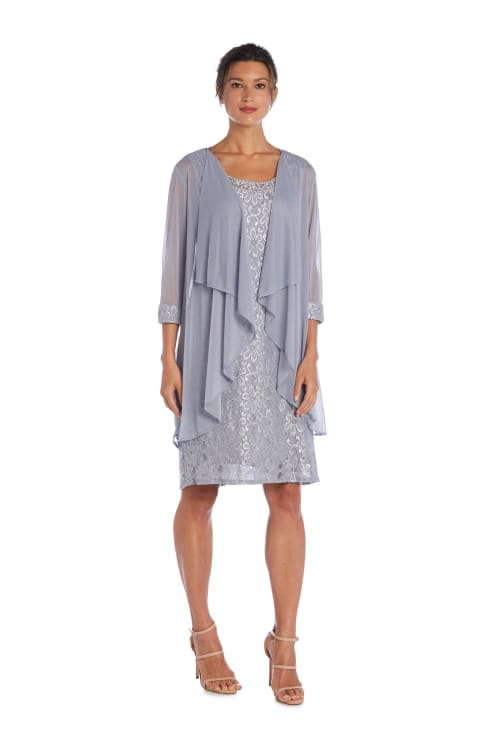 Beaded Neck Lace Dress With Cascade Jacket - Silver - Front
