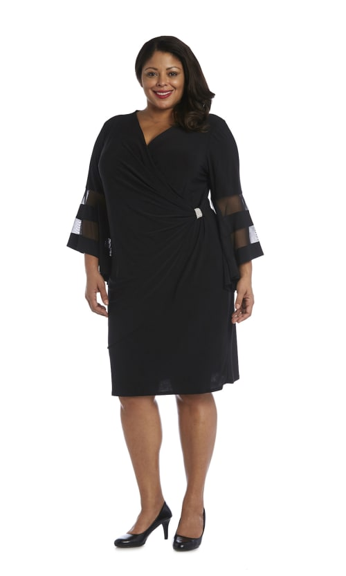 Illusion Bell Sleeve Dress with Rush Detail at Waist - Black - Front
