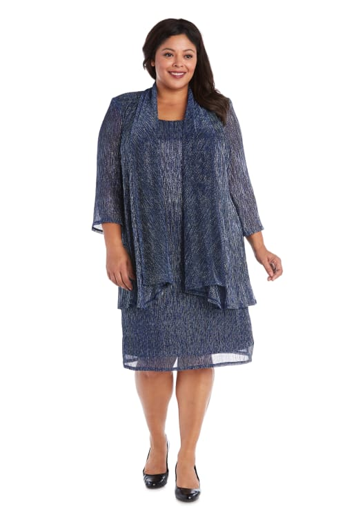 2pc Flyaway Metallic Jacket Dress - Blue - Front