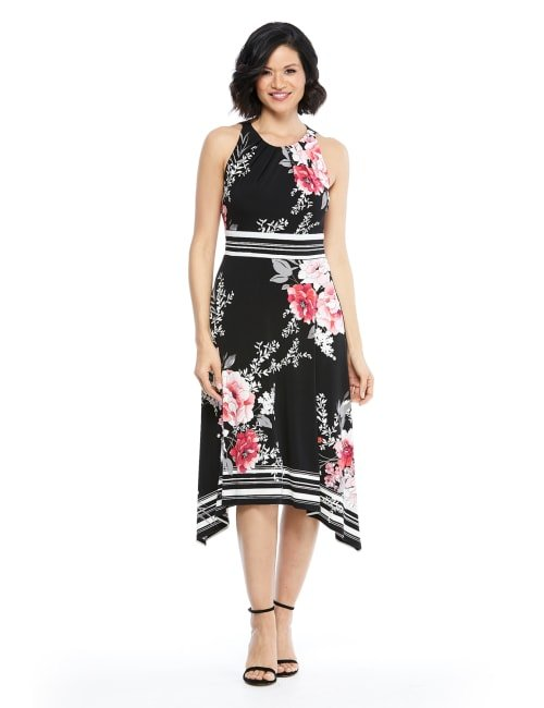 Floral Jersey Sharkbite Dress - Black/Pink - Front