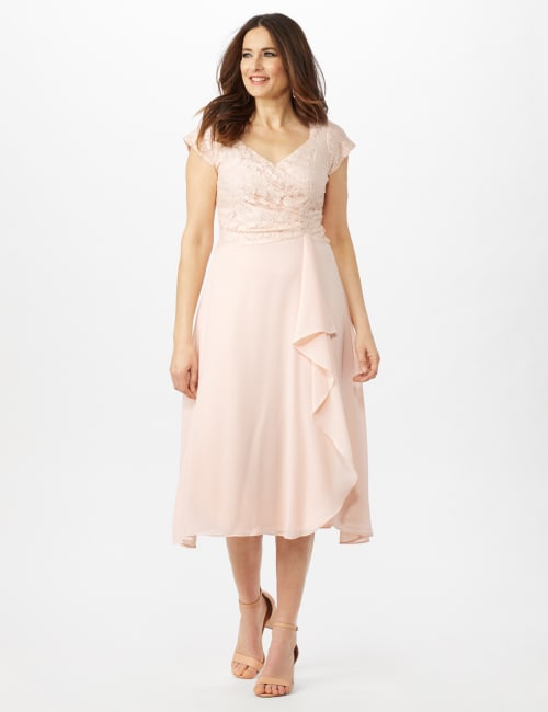 Bodice Cascade Ruffle Dress - Blush - Front