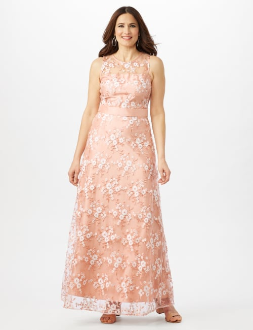 Floral Embroidered A-Line Gown - Peach/Ivory - Front