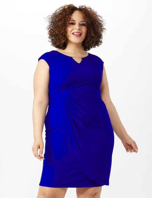 Cap Sleeve Wrap Dress - Deep Cobalt - Front