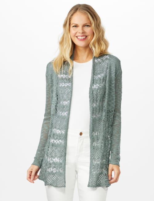 Textured Cardigan with Crochet Detail - Silver Moss - Front