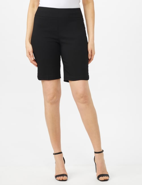 Pull on Shorts with Dome Rivet Trim - Black - Front