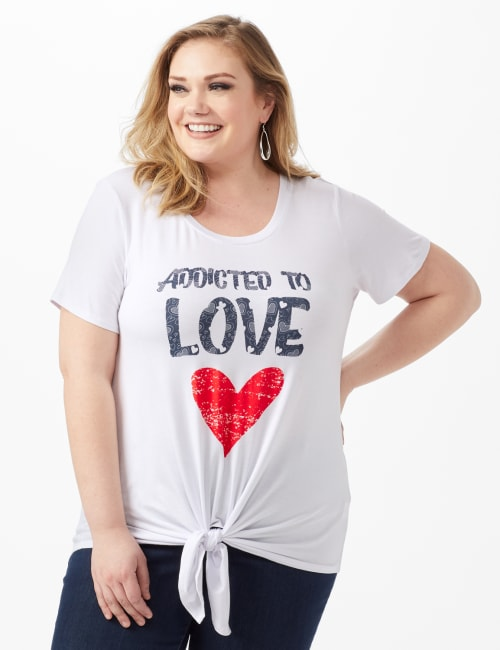 Addicted To Love Tie Front Screen Tee - White - Front