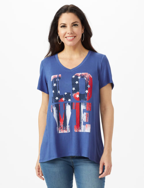 LOVE Hi-Lo Screen Tee - Indigo - Front