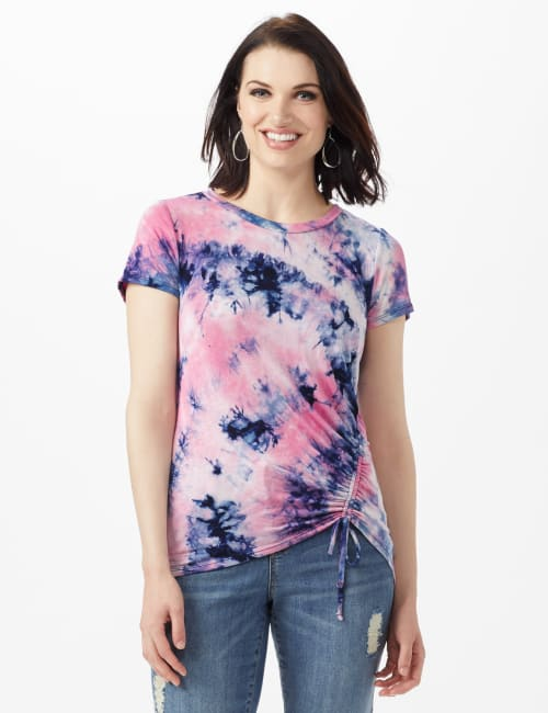 Tye Dye Ruched Tie Front Top - Pink - Front