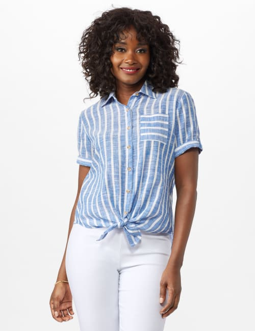 Dressbarn Lurex Stripe 1 Pocket Shirt - Blue - Front