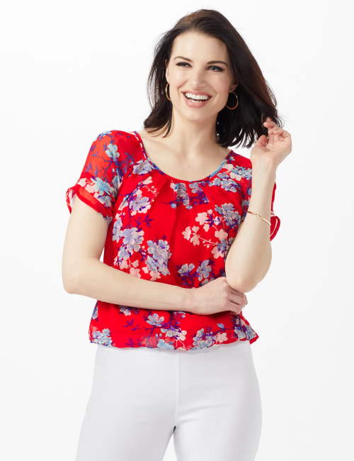 Blue Floral Pleat Neck Bubble Hem - Red - Front