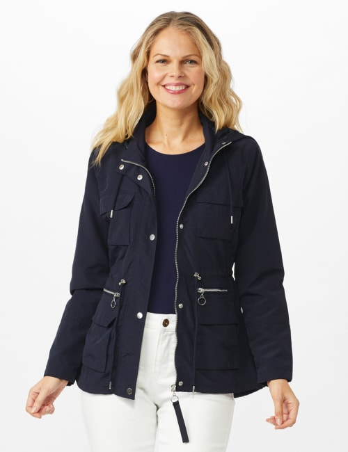Dry Nylon Hooded Zip Front Utility Jacket with 4 Cargo Pockets and Drawcord - Navy - Front