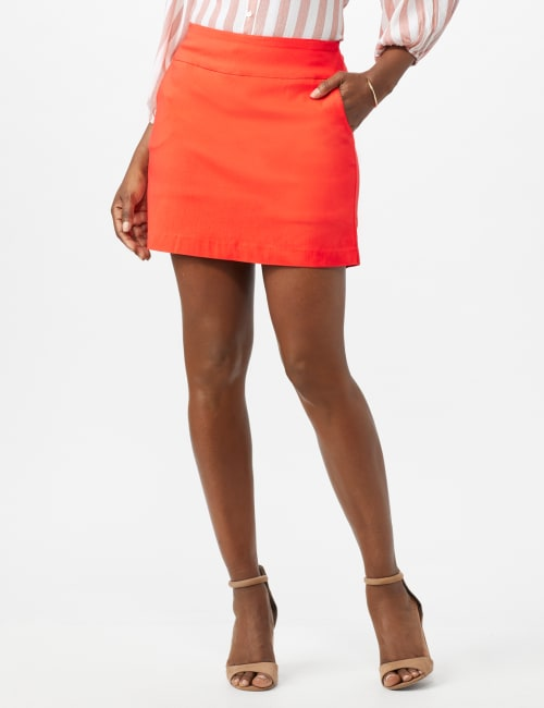 Pre-Order Pull On Solid Skort with Pockets - Coralicious - Front