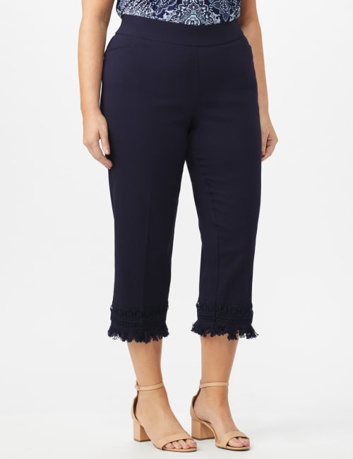 Pull On Crop Pants with Fringe Hem Detail - Navy - Front