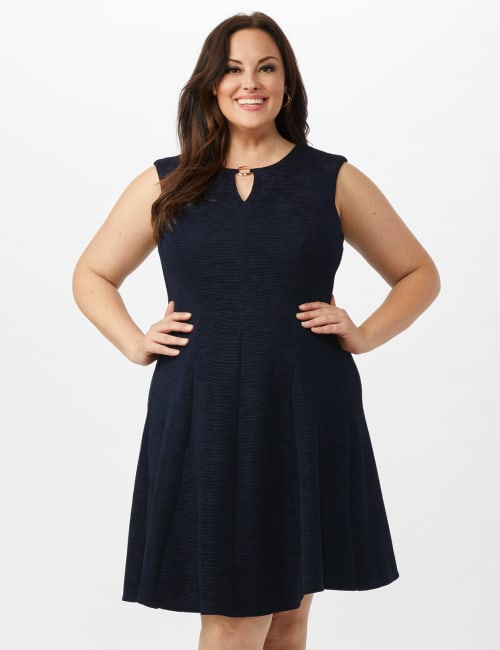 Sleeveless Textured Knit Key Hole Neck with Ring Dress - Navy - Front