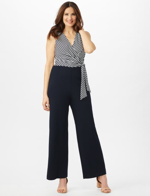 Faux Wrap Side Tie Jumpsuit - Navy/Ivory - Front