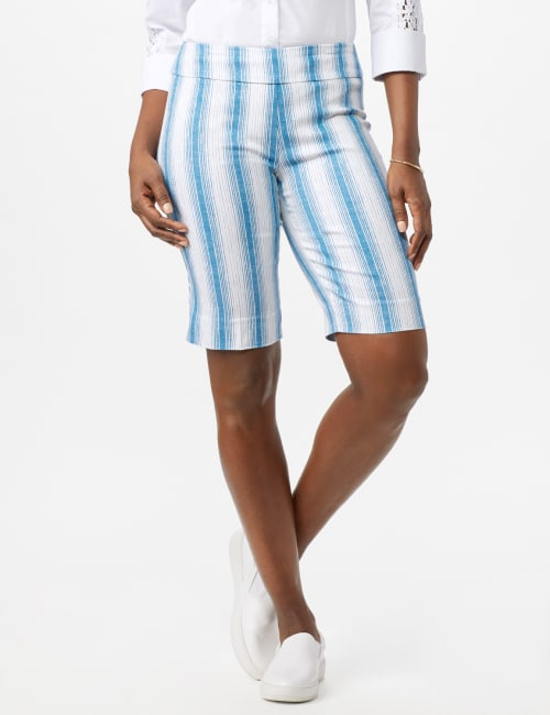 Pull On Skimmer Stripe Short - White/Blue - Front