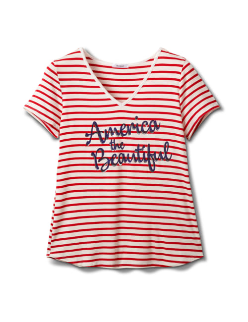 """America The Beautiful"" Stripe Rib Tee - Red - Front"