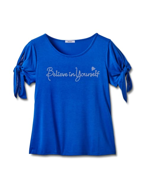 """Believe In Yourself"" Cold Shoulder Tee - Blue - Front"