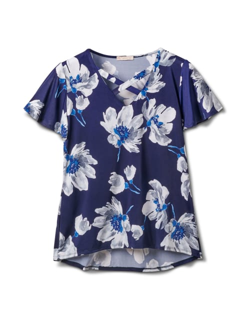 Criss Cross Neck Floral Knit Top - Navy - Front