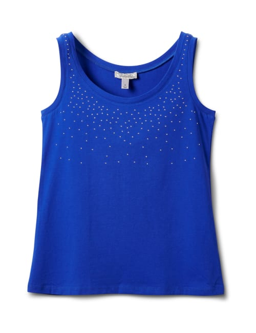 Studded Knit Tank - Royal Blue - Front