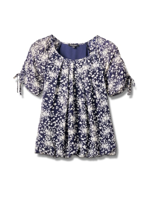 Small Floral Bubble Hem Top - Misses - Navy - Front
