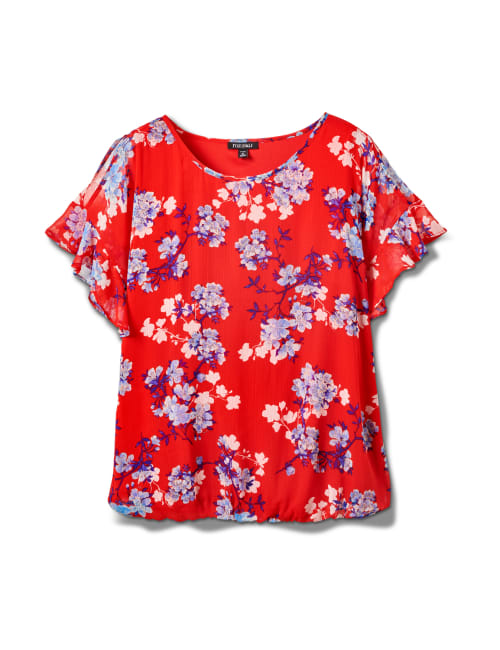 Floral Cold Shoulder Bubble Hem Top - Plus - Red - Front