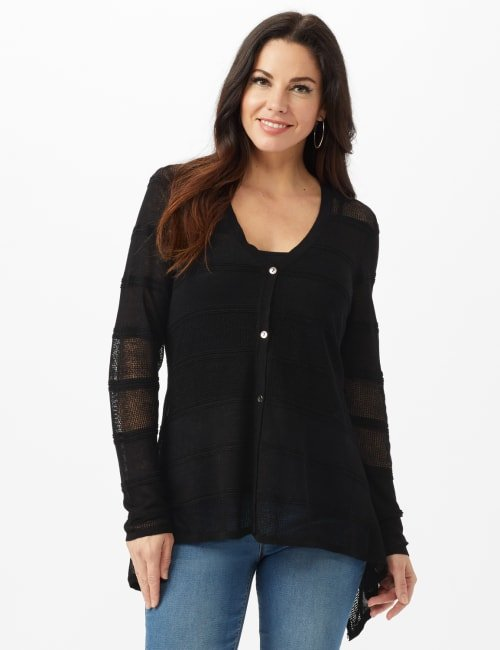 Button Front Sharkbite Cardigan - Misses - Black - Front