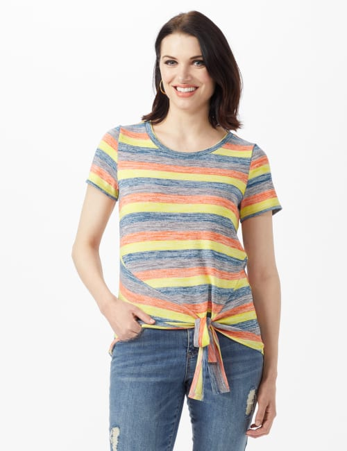 Bright Tie Front Stripe Knit Top - Multi - Front