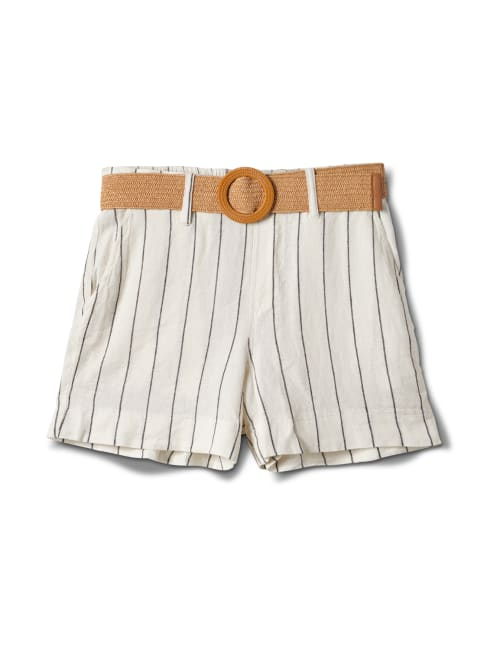 High Rise A Line Shorts With Belt - Natural - Front