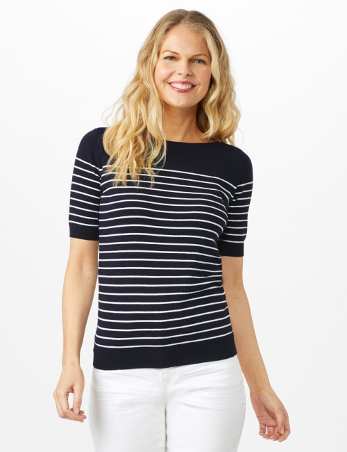 Stripe Sweater - Nightlife/ White - Front