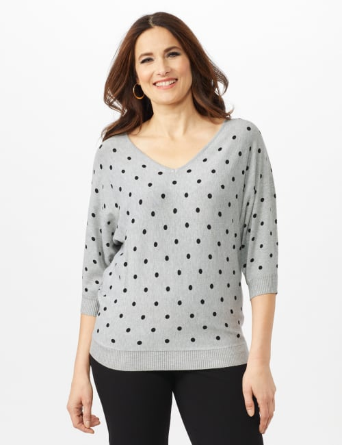 Dot Sweater - Mist Grey Heather/ Black - Front