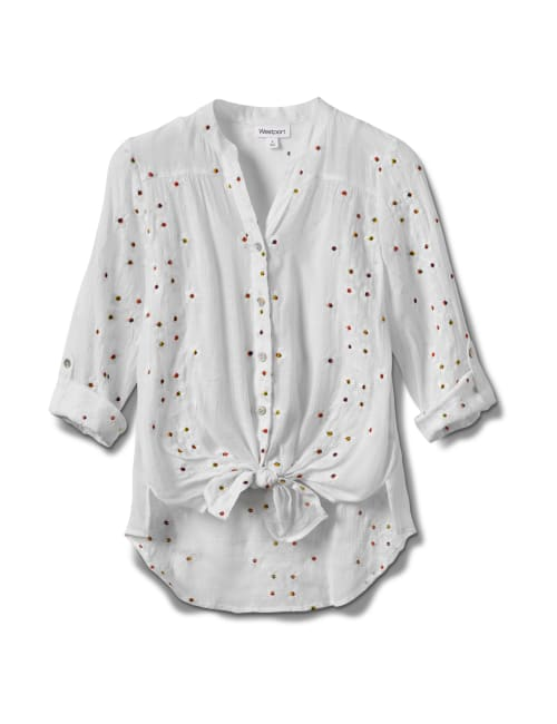 Westport Embroidered Button Front Shirt - White - Front