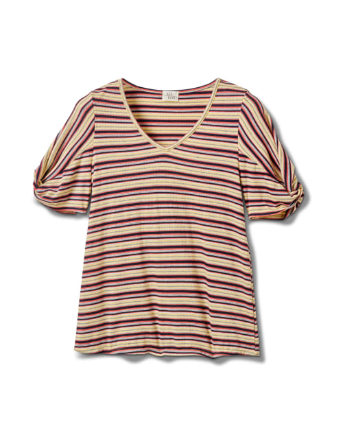 Rib Stripe Thermal Tee - Misses - Banana - Front