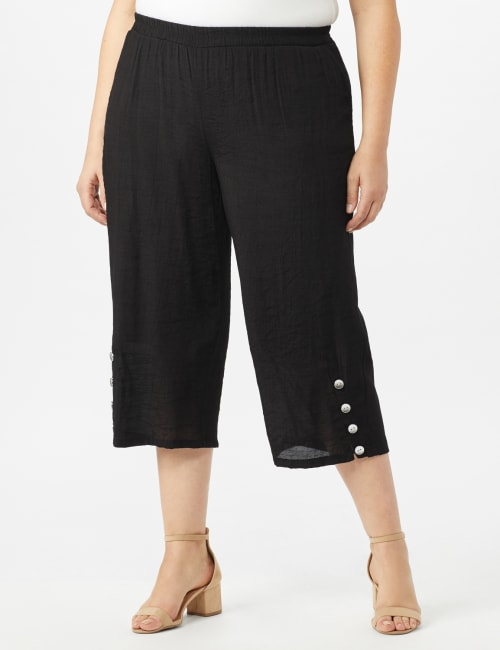 Pull on Wide Leg Crop Pants with Button Hem Detail - Black - Front
