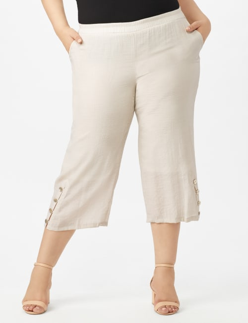 Pull on Wide Leg Crop Pants with Button Hem Detail - Lt Stone - Front