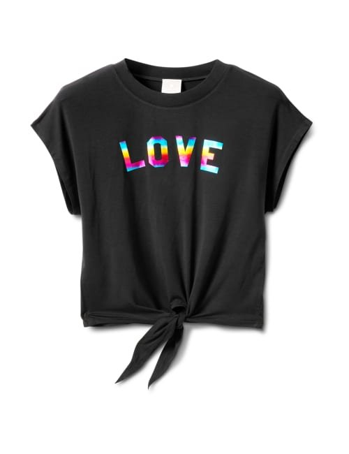 "Ombree ""Love ""Tie Front Knit Top - Misses - Black - Front"