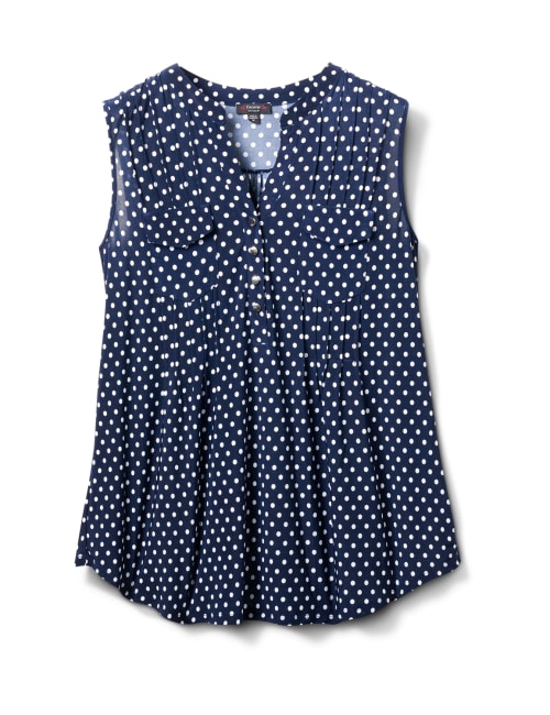 Navy Dot Pintuck Popover - Navy/White - Front