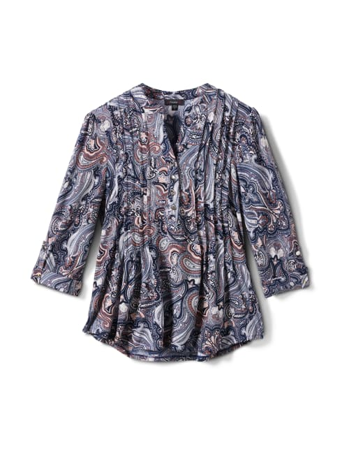 Paisley Pintuck Popover - Navy/Orange - Front