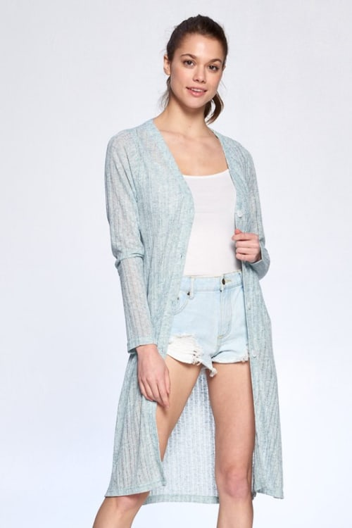 Cozy Long Tail Cardigan - Dusty Blue - Front