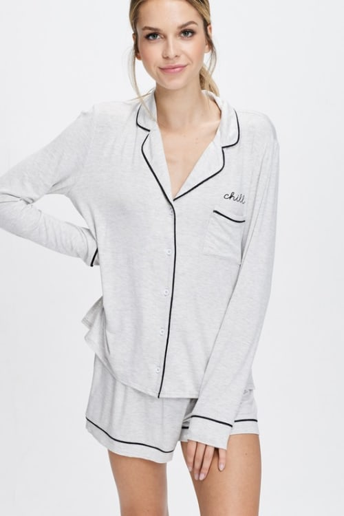 Cozy Nightwear Jacket - Light Heather Grey - Front