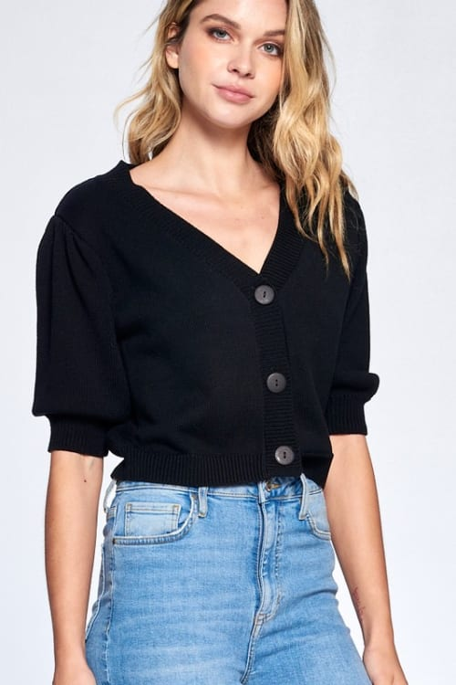 Button Front Short Sleeve Sweater - Black - Front